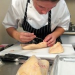Jessica Largey cleaning the foie gras