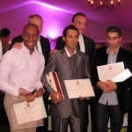 The five contestants receiving their prizes. From left to right: Olivier Jean, Francis Ogé (the winner), chef Eric Frechon (Le Bristol), Filipo Fiorentini, Richard Galy (Mayor of Mougins), Nelson Da Silva, Jessica Largey