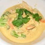 Panang curry with brown rice, potato, broccoli, ginger, carrot, mushroom and coconut broth