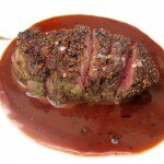 "Pan roasted USDA prime filet of beef ""au poivre"""