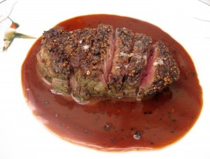 prime filet 300x227 Pan roasted USDA prime filet of beef au poivre