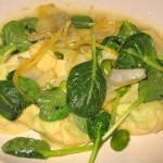 Fava bean and ricotta ravioli with shaved artichoke, Tat Soi and Meyer lemons
