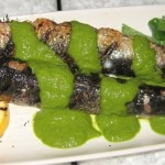 Monterey Bay sardines with salsa verde and grilled lemons