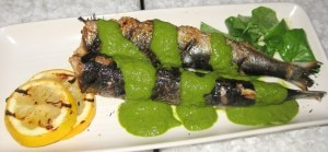 sardines 300x139 Monterey Bay sardines with salsa verde and grilled lemons