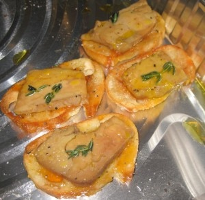 Sonoma sautéed foie gras served on crostini with extra virgin olive oil