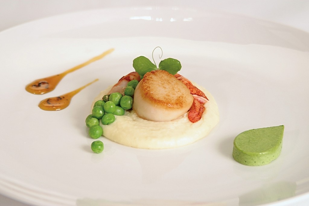 Local scallop and lobster with peas on parsnip purée by chef Stefan Czapalay (Photo courtesy of Right Some Good)