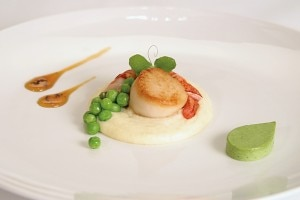 scallop lobster 300x200 Local scallop and lobster with peas on parsnip purée by chef Stefan Czapalay (Photo courtesy of Right Some Good)