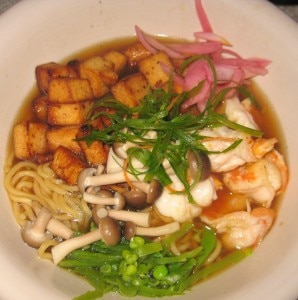 spicy shrimp 298x300 Spicy shrimp and Asian noodles with shaved vegetable, mushroom, tofu and savory broth
