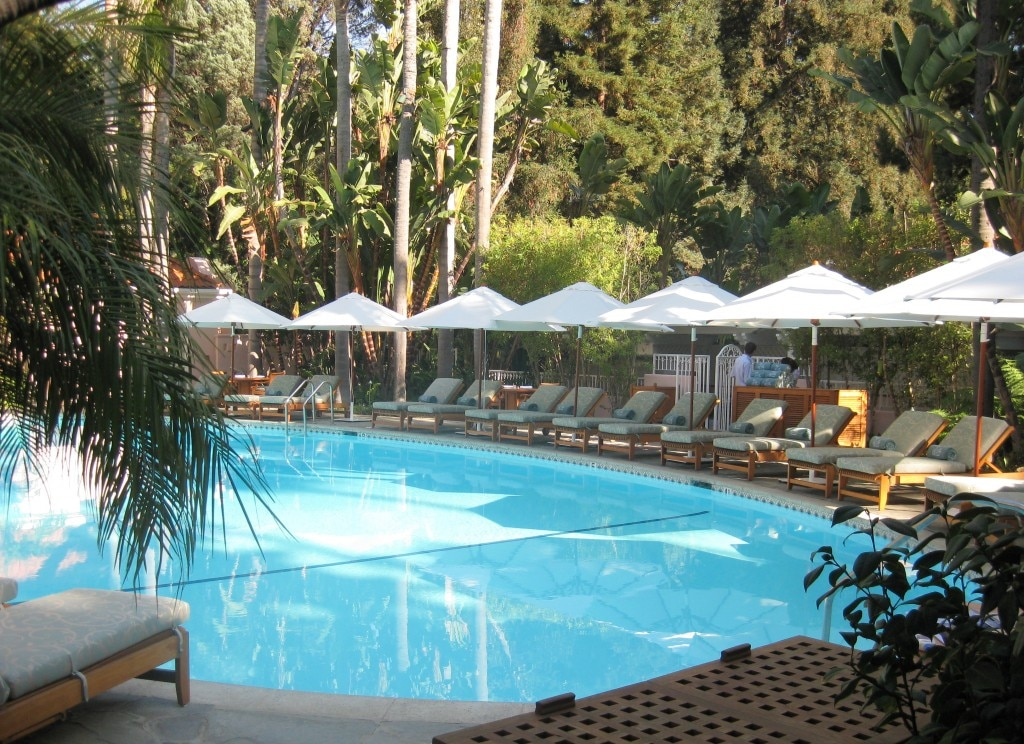 The hotel's oval-shaped swimming pool