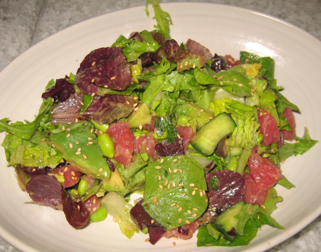 Sashimi Tuna with avocado, cucumber, edamame and ginger