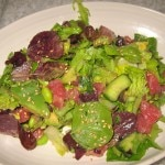 Sashimi Tuna with avocado, cucumber, edamame and ginger
