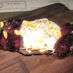 Burrata and roasted grapes with brown butter, rosemary and pine nuts
