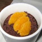 Orange cream panna cotta with blood orange and dark chocolate crumble