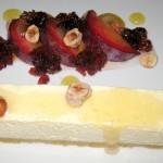 Lebne cheesecake, plum, hibiscus and hazelnut