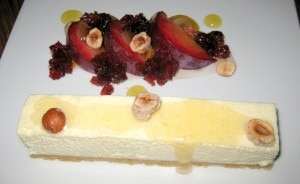 Lebne cheesecake, plum, hibiscus and hazelnut
