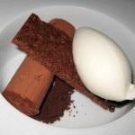 Chocolate mousse, cocoa nib and honey milk sorbet