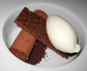 chocolate mousse 300x245 Chocolate mousse, cocoa nib and honey milk sorbet
