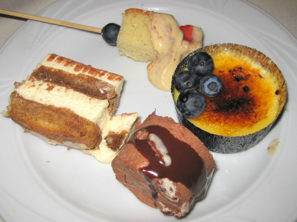 "Bite-size crème brûlée, sabayon, timarisu and chocolate cake from the ""Jackie O."" dessert"