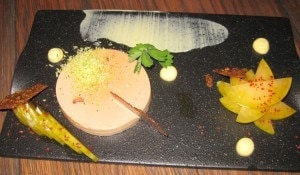 Foie gras terrine, saffron lebne, green plum and pistachio