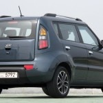 A three-quarter rear view of a Kia Soul