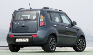 kia soul rear 300x176 A three quarter rear view of a Kia Soul