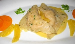 lobster ravioli 300x174 Ravioli Arragosta: Lobster and basil filled ravioli with a sauce of Japanese ginger and citrus