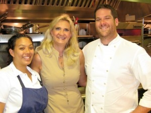 Pastry chef Morgan Bordenave, Sophie Gayot, chef Micah Wexler of MEZZE restaurant