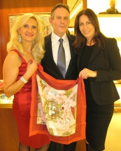 Thomas Keller, president of Bocuse d'Or USA and Laura Cunningham at Hermès Beverly Hills with Sophie Gayot