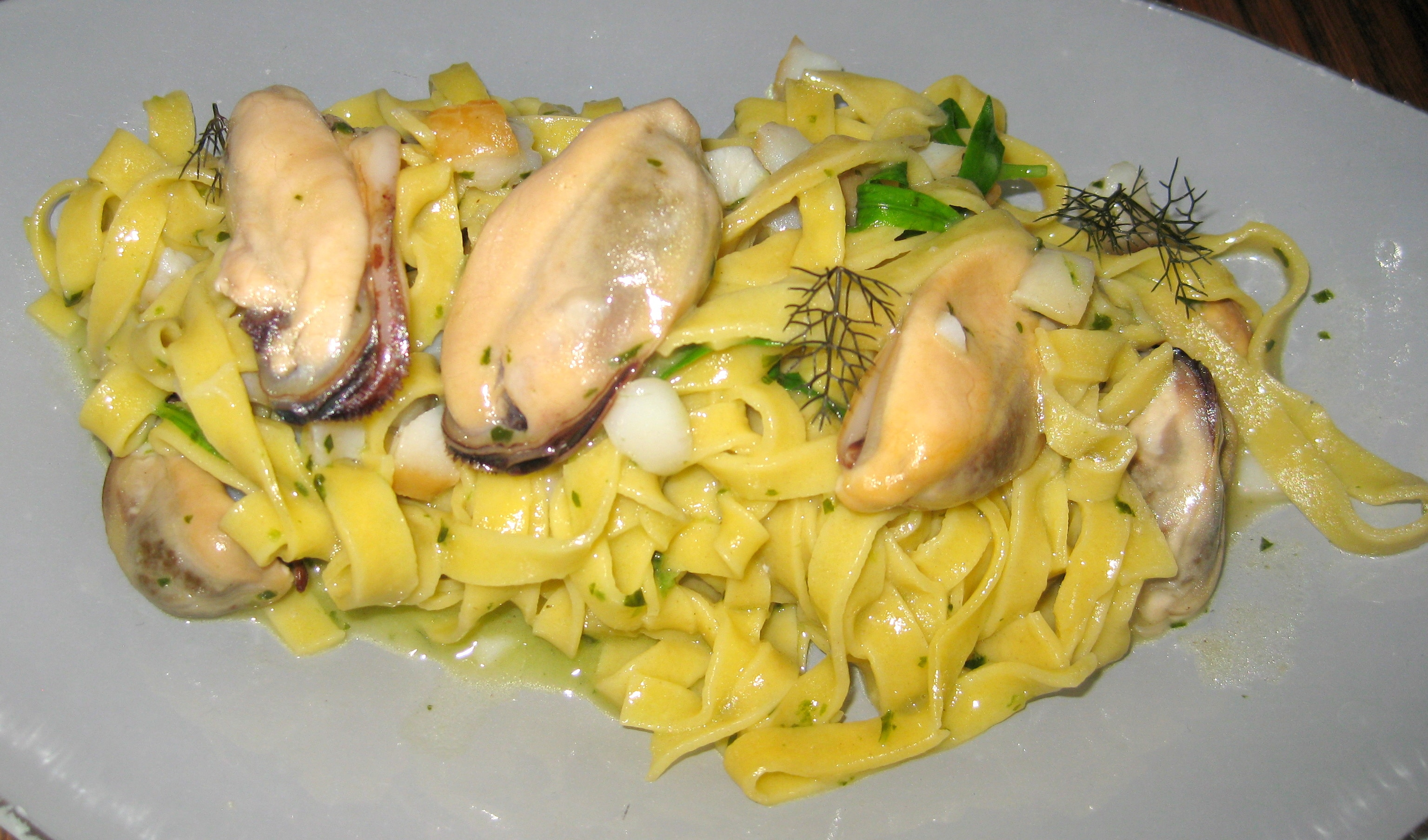 Tagliolini, smoked sablefish, mussels and green chili | GAYOT's Blog