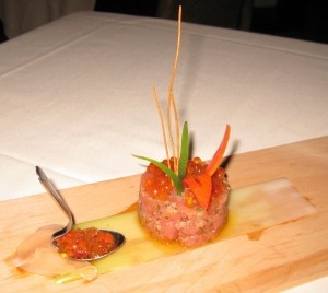 tuna tartare 300x268 Tuna Tartare: Hawaiian ahi tuna, finely chopped and served with a mildly spiced dressing
