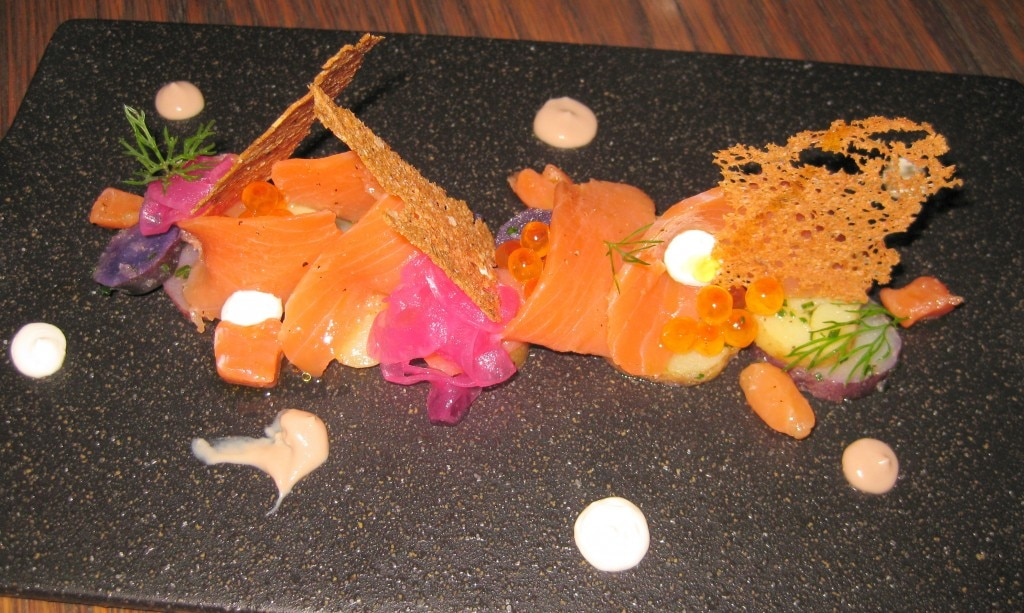 Wild salmon and purple onion on B. Bendik & Son Rye