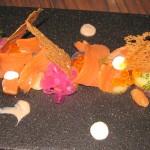 Wild salmon and purple onion on B. Bendik & Son Rye