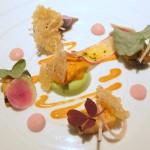 Monterey Abalone with sorrel, uni, radish and puffed rice