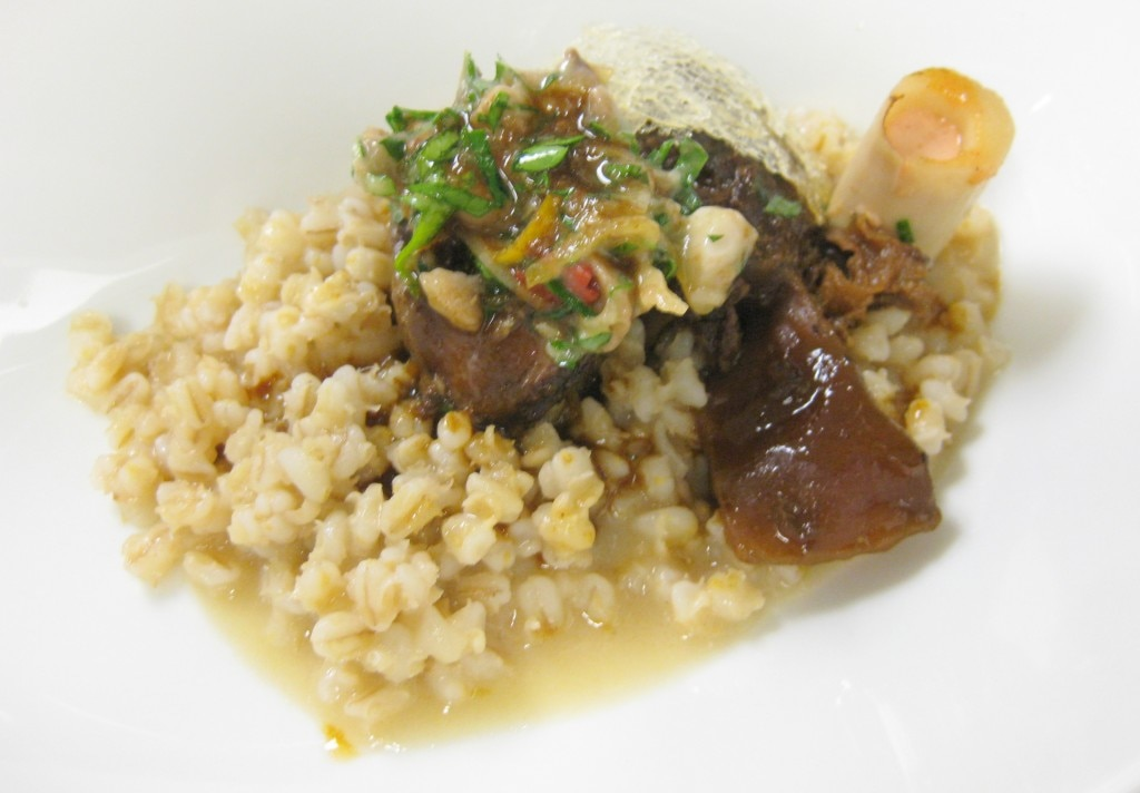 Antelope osso buco with pearled barley, acacia honey, gremolata and goji berry