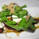 Burrata, market beets, arugula, pistachio and fried shallot salad