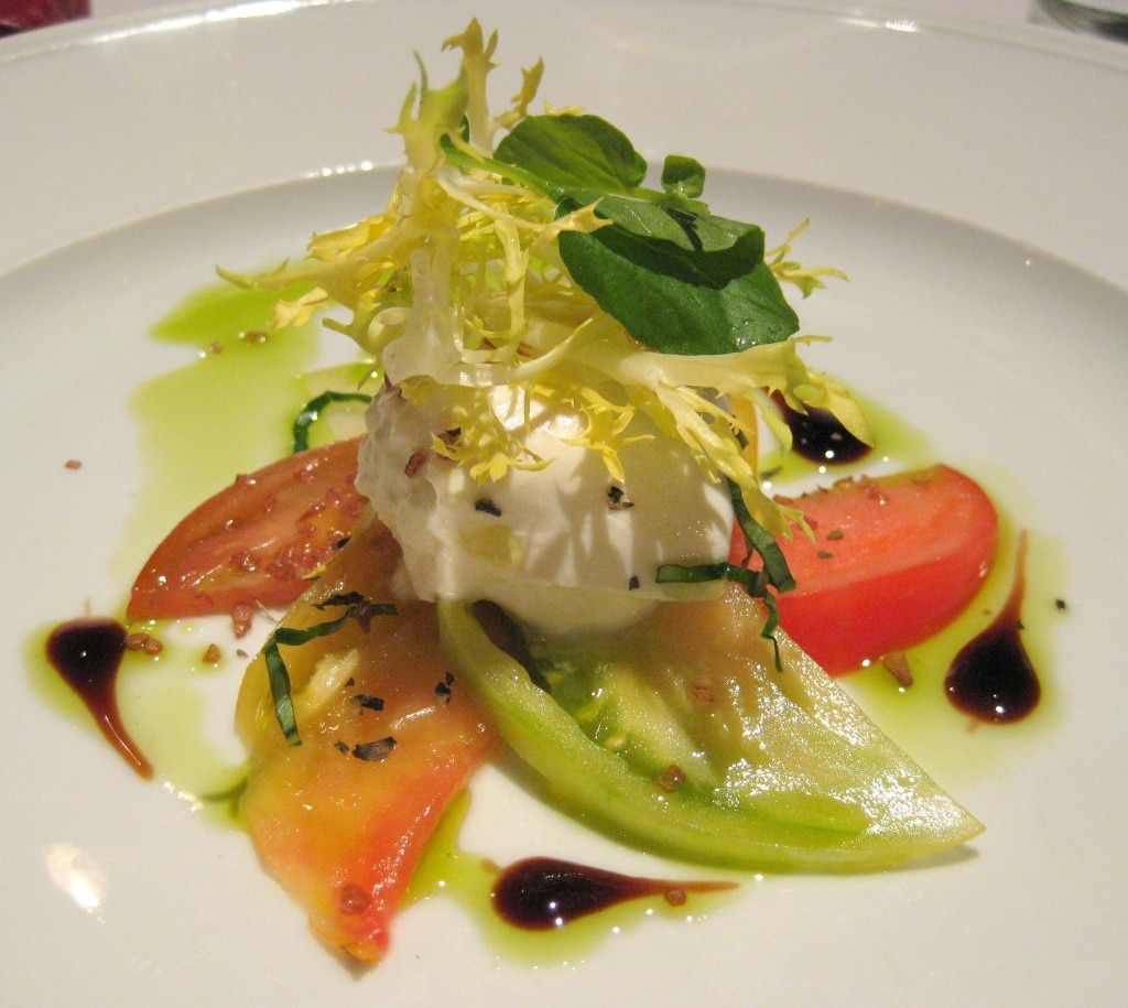 Burrata cheese and heirloom tomatoes