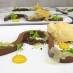 Chocolate: banana emulsion, chewy peanut butter ice cream, iced celery, pretzel
