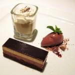 Chocolate and caramel fondant