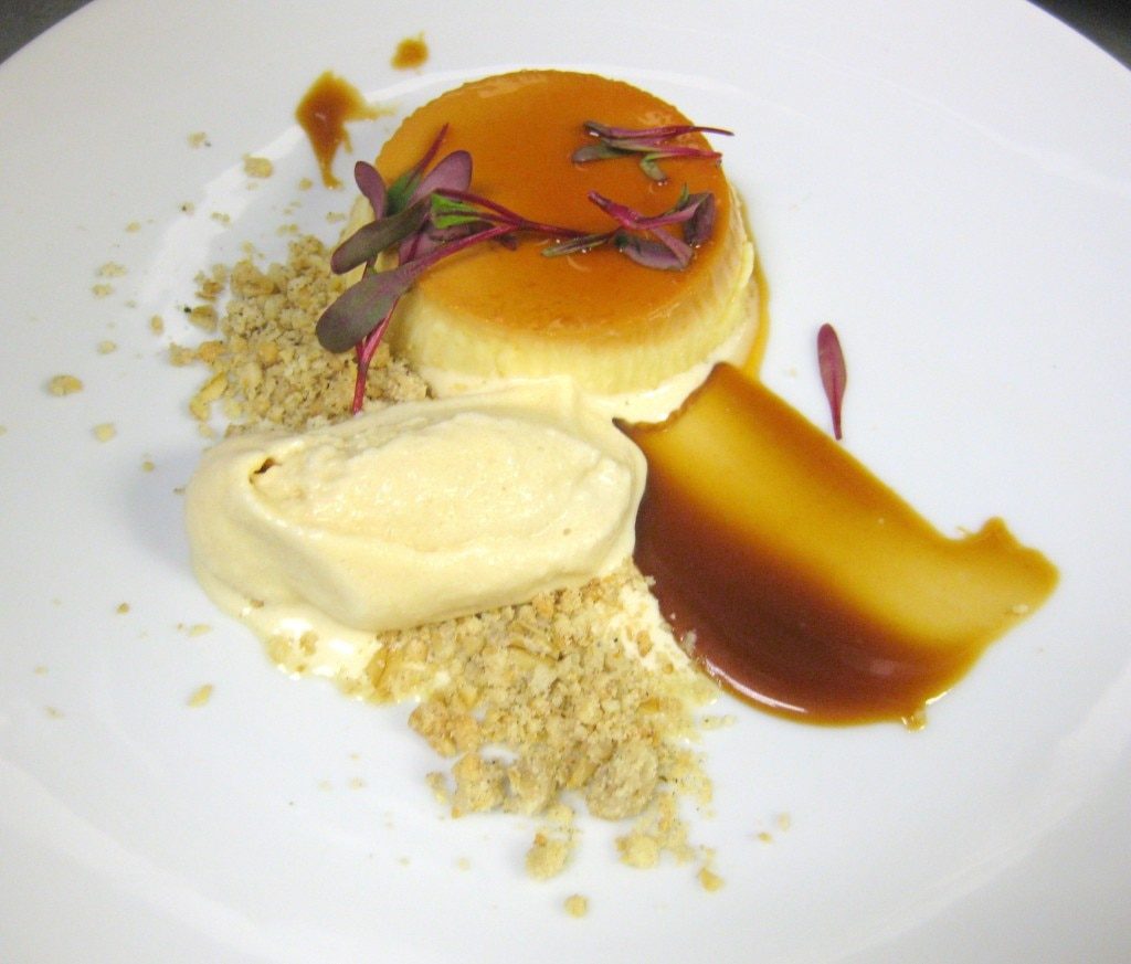 Duck egg flan with wild turkey, cardamom crumble and cajeta ice cream