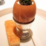 Egg Caviar: Soft poached egg, lemon crème fraîche and American caviar