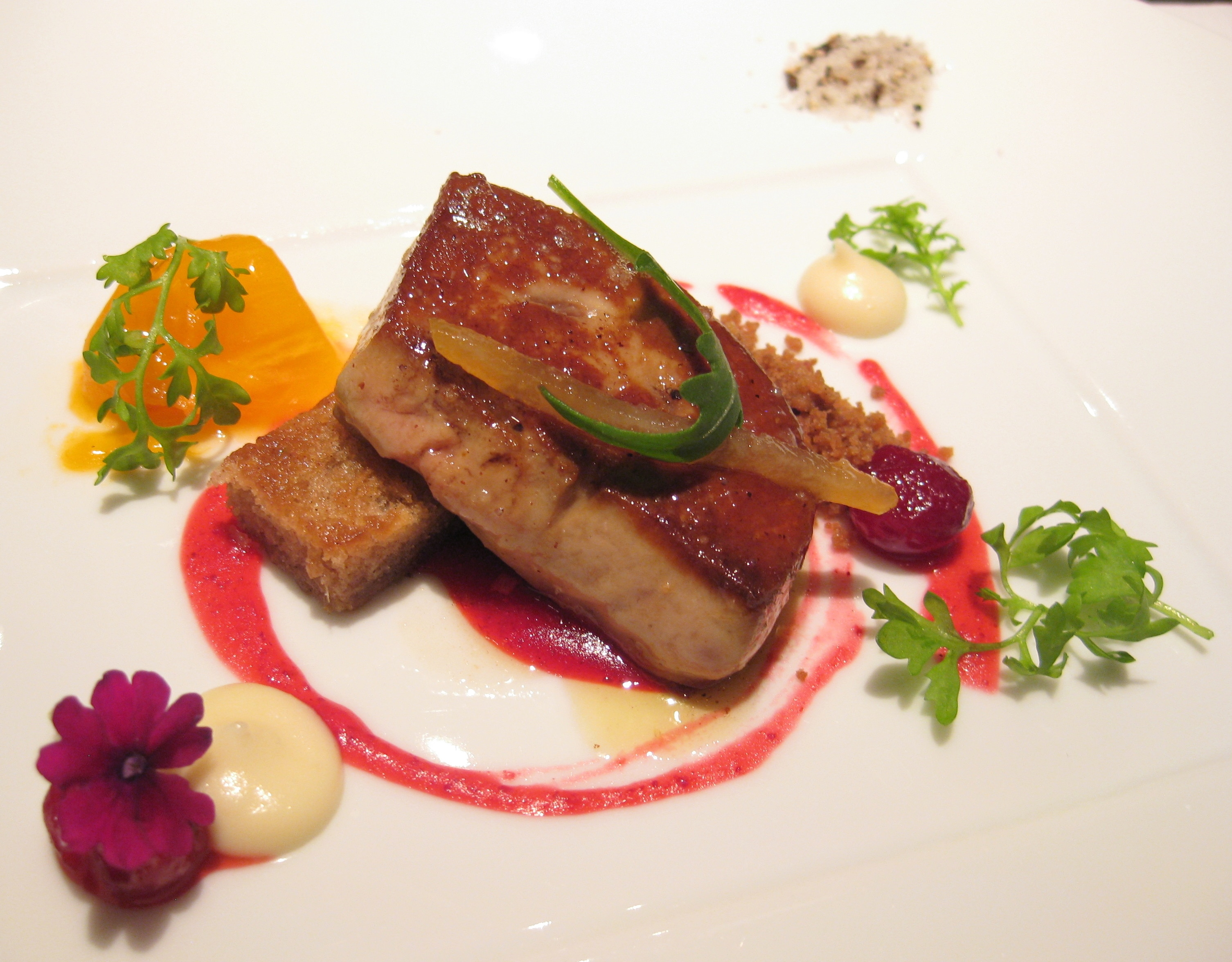 Seared Foie Gras With Fuyu Persimmon Parsnip Cake And