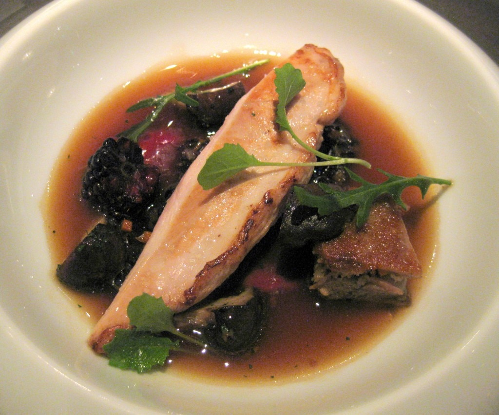 Schaner Farms Guinea Hen with fried chicken mushrooms, blackberries, forbidden rice and toasted pine cone infusion