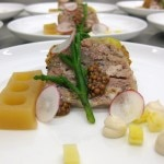 Head-to-Tail: radishes, wax beans, sea bean, brown butter, sweet & sour tangerine