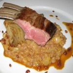 Oven-roasted lamb rack with sous-vide fennel, farro and orange demi