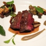 Prime Beef Rib Eye with sunchokes, chanterelle mushrooms, baby leeks and red wine herb jus
