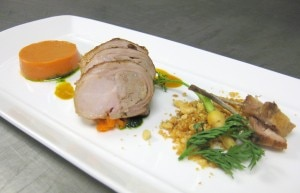 Roasted rabbit with carrot panna cotta, Thai spices, peanut and lime