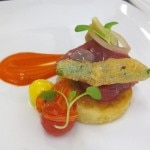 Tuna niçoise: haricot vert, smokey tomato, quail egg, olive gusher