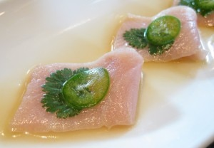 yellowtail sashimi with serrano peppers - 300×208