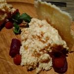 Aerated foie gras, pickled beet, mashed plum, brioche
