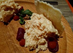Aerated foie gras, pickled beet, mashed plum, brioche at wd-50 restaurant in New York
